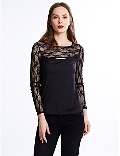 Women's Lace Going out Plus Size Sexy Summer T-shirt,Solid Round Neck Long Sleeve Black Others Thin