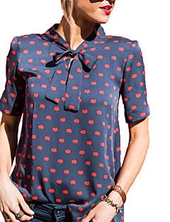 Polyester Medium Kortermet,Rund hals T-skjorte Trykt mønster Sommer Høst Søt Gatemote Ut på byen Fritid/hverdag Plusstørrelser Dame