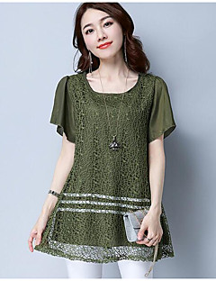 Women's Going out Vintage Shirt,Solid U Neck Short Sleeve Others
