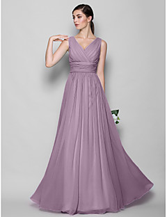 A-Line Sheath / Column V-neck Floor Length Georgette Bridesmaid Dress with Criss Cross by LAN TING BRIDE®