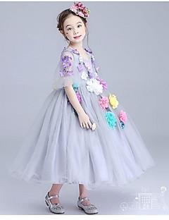 De Baile Longuette Vestido para Meninas das Flores - Organza Decorado com Bijuteria com Apliques Flor(es) Franzido