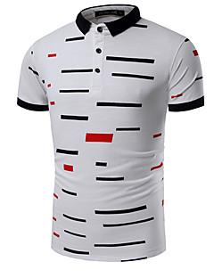 メンズ カジュアル/普段着 Polo,シンプル シャツカラー プリント コットン 半袖