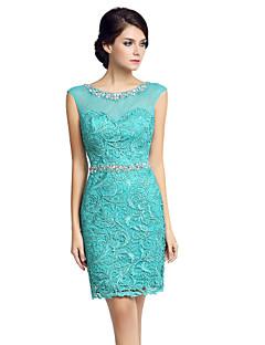 공 드레스 가운 신부 드레스의 어머니 무릎 길이의 민소매 레이스 얇은 명주 그물 레이스와 얇은 명주 그물
