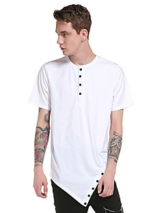 Men's Going out Casual/Daily Party Simple Boho Street chic Summer T-shirt,Solid Round Neck Short Sleeve Cotton Thin
