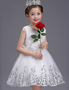 Ball Gown Short / Mini Flower Girl Dress - Tulle Sleeveless Jewel Neck with Sequin by XMF