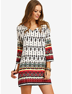 Women's Going out Casual/Daily Beach Cute Chinoiserie Tunic Dress,Print V Neck Mini Cotton Polyester All Seasons High Rise Micro-elastic