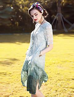 Dámské Vintage Sofistikované Jdeme ven Běžné/Denní Dovolená A Line Šaty Jednobarevné Žakár,Krátký rukáv Kulatý Délka ke kolenůmHedvábí