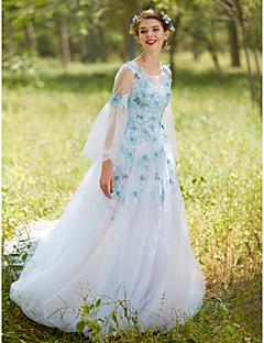 a-lineジュエルネックコートトレインチュールイブニングドレス(ビーズ付)