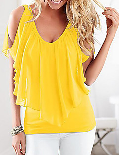 Women's Plus Size Casual/Daily Simple Summer Blouse,Solid Round Neck Short Sleeve Polyester Medium