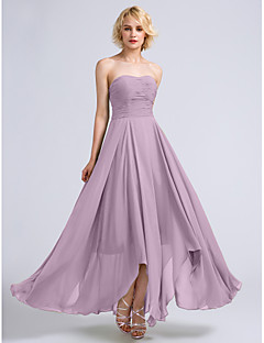 LAN TING BRIDE Ankle-length Strapless Bridesmaid Dress - Open Back Sleeveless Chiffon