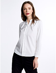 Women's Work Simple Spring Blouse,Solid V Neck Long Sleeve Polyester Medium