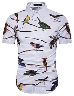 남성 프린트 셔츠 카라 짧은 소매 셔츠,심플 귀여운 스트리트 쉬크 캐쥬얼/데일리 비치 클럽 면 폴리에스테르