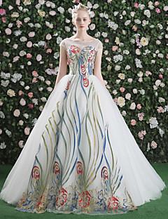 Serata formale Vestito - Brillante e glitterato Con stringhe Da ballo Con decorazione gioiello Strascico a terra Raso Tulle Con strass con