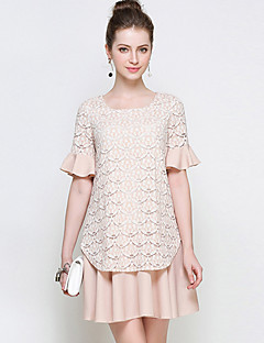 YHSPWomen's Going out Beach Holiday Simple Cute A Line Loose Lace DressSolid Embroidered Round Neck Above Knee Short Sleeve Polyester Summer
