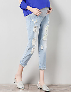 Expectant Mother's Pure Cotton And Comfortable Nine Points Loose Jeans Hold Abdominal Holes Holds Abdomen Slacks