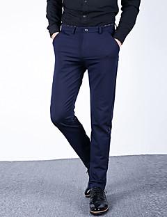 Bărbați Drept Zvelt Simplu Talie Medie,Micro-elastic Pantaloni Chinos Afacere Pantaloni Solid