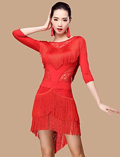 Devemos vestidos de dança latina mulheres poliéster / renda 2 peças de roupa de dança
