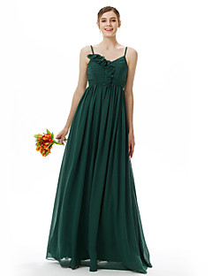 LAN TING BRIDE Floor-length Spaghetti Straps Bridesmaid Dress Sleeveless Chiffon