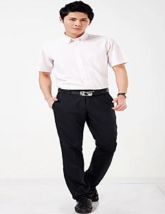 פסים צווארון חולצה פשוטה יום יומי\קז'ואל עבודה מסיבה\קוקטייל חולצה גברים,כל העונות קיץ שרוולים קצרים דק כותנה צורני פוליאסטר