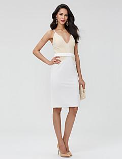 Tube / kolonne V-hals Kort / mini Blonder Cocktailfest Ball Kjole med Belte / bånd Plissert av TS Couture®