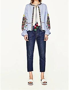 Kvinner går ut casual / daglig enkel street chic høst vinter skjorte, solid skjorte krage langermet hvitt bomull medium