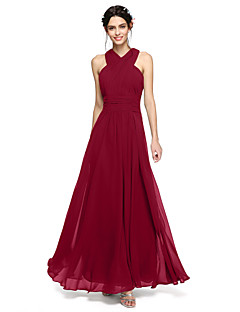 LAN TING BRIDE Floor-length Halter Bridesmaid Dress - Open Back Sleeveless Chiffon