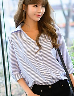 Women's Casual/Daily Work Simple Spring Shirt,Striped V Neck ¾ Sleeve Cotton Opaque