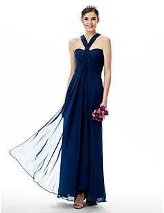 시스 / 칼럼 스윗하트 바닥 길이 쉬폰 신부 들러리 드레스 와 루시 주름 장식 으로 LAN TING BRIDE®