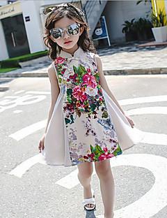 Djevojka je Pamuk Umjetna svila Jednobojni Cvjetni print Ležerno/za svaki dan Ljeto Bez rukava Haljina