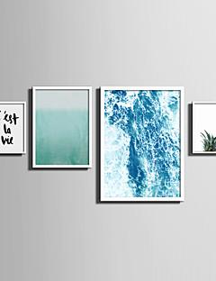Peisaj Floral/Botanic Cuvinte & Pasaje Pânză Înrămată Set Înrămat Wall Art,PVC Material Alb Fără Rogojină cu Frame For Pagina de decorare