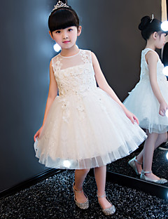 Princess Knee-length Flower Girl Dress - Cotton Lace Tulle Jewel with Beading Appliques Crystal Detailing Lace