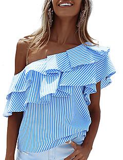 Polyester Medium Kortermet,Enskuldret T-skjorte Stripet Sommer Høst Sexy Gatemote Fritid/hverdag Ferie Dame
