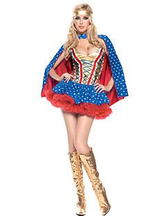 コスプレ衣装 クローク スーパーヒーロー イベント/ホリデー ハロウィーンコスチューム 赤 + 青 その他 ドレス クローク ハロウィーン 女性用 スパンデックス テリレン