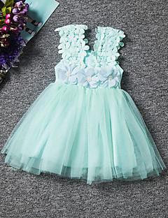 תחפושות קוספליי נסיכות פסטיבל/חג תחפושות ליל כל הקדושים ורוד לבן ירוק צבע אחיד פרח תחרה שמלה יום הילד ילד כותנה פוליאסטר