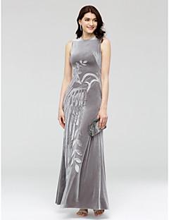 TS Couture ערב רישמי שמלה - סגנון של מפורסמים מעטפת \ עמוד עם תכשיטים באורך הקרסול קטיפה עם אפליקציות