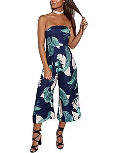 여성 섹시 빈티지 보호 데이트 휴일 점프 수트,슬림 와이드 레그 높은 밑위 뒷면이 없는 스타일 스프링 여름 프린트