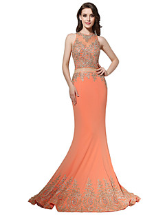 Formal Evening Dress - See Through Trumpet / Mermaid Jewel Sweep / Brush Train Polyester with Appliques Pick Up Skirt