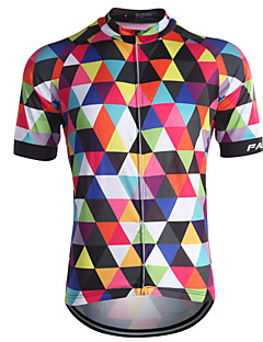 fastcute Cycling Jersey Men's Short Sleeve Bike Jersey Tops Quick Dry Front Zipper Breathable Back Pocket Sweat-wicking100% Polyester