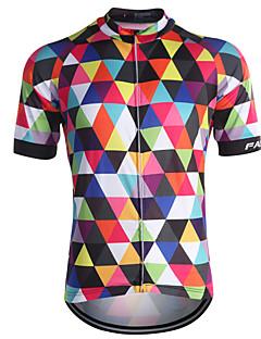 Fastcute חולצת ג'רסי לרכיבה בגדי ריקוד גברים שרוולים קצרים אופניים ג'רזי צמרות ייבוש מהיר רוכסן קדמי נושם תומך זיעה כיס אחורי 100%