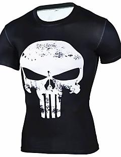 男性用 ランニングTシャツ 半袖 高通気性 ソフト 快適 Tシャツ のために エクササイズ&フィットネス ランニング コットン ルーズ ブラック ライトブルー L XL XXL XXXL 4XL
