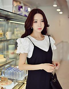 Feminino Camiseta Para Noite Casual Férias Simples Moda de Rua Sofisticado Verão,Sólido Algodão Elastano Decote Redondo Manga CurtaOpaca