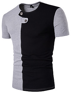Men's Sports Casual/Daily Simple T-shirt,Color Block Round Neck Short Sleeve Cotton