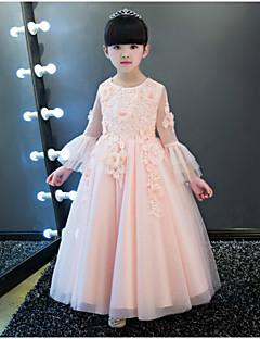 גזרת A באורך הקרסול שמלה לנערת הפרחים - שיפון עם תכשיטים עם אפליקציות תחרה