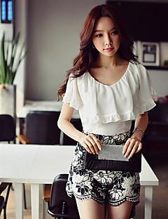 Damen Solide Einfach Street Schick Anspruchsvoll Ausgehen Lässig/Alltäglich Urlaub Bluse,V-Ausschnitt Sommer Ärmellos Polyester Elasthan