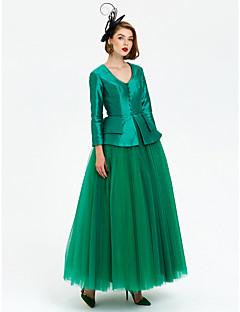 Φόρεμα σφαιρών v-λαιμός αστράγαλο μήκος ταφτά τούλι φόρεμα επίσημο βράδυ με επίδεσμο κουμπιά