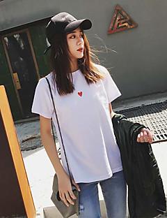 Dames Eenvoudig Schattig Actief Zomer T-shirt,Uitgaan Casual/Dagelijks Club Print Ronde hals Korte mouw Katoen Ondoorzichtig Dun