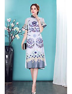 Damen Hülle Kleid-Ausgehen Lässig/Alltäglich Chinoiserie Stickerei Ständer Knielang Kurzarm Seide Frühling Sommer Mittlere Hüfthöhe