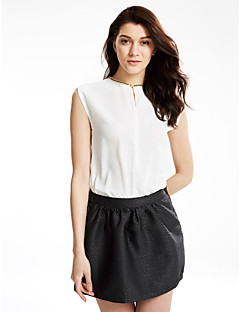 Women's Casual/Daily Simple / Street chic Summer Blouse,Solid V Neck Sleeveless White / Black Polyester Thin