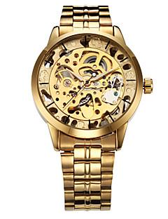 WINNER גברים שעון יד שעון מכני אוטומטי נמתח לבד חריתה חלולה מתכת אל חלד להקה יוקרתי זהב זהב כסף כסף מוזהב