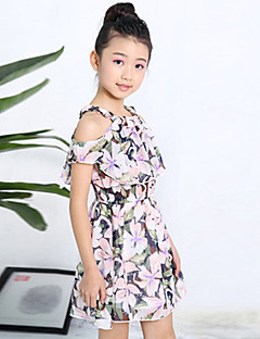 Girl's Fashion And Lovely   Printed Chiffon Shoulder Sling Princess Dress
